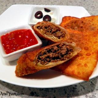 Taco Ravioli and Egg Roll