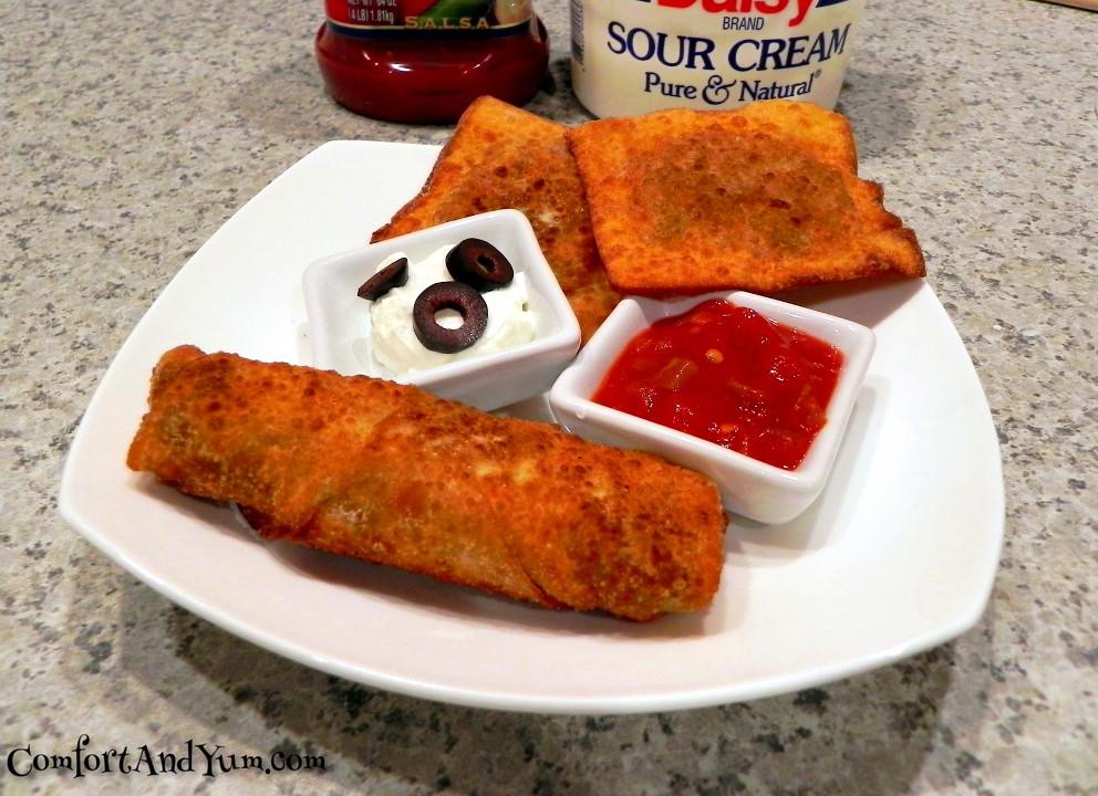 Taco Ravioli and Egg Rolls