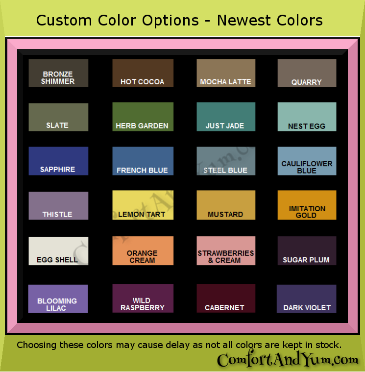 Indoor Matte Color Chart -- New Colors