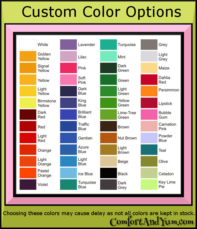 Indoor Vinyl Color Chart