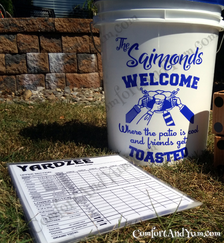 Personalized Bucket Decal Sets with Laminated Scorecards AVAILABLE again!! For YARDZEE | FARKLE | Other Outdoor Games